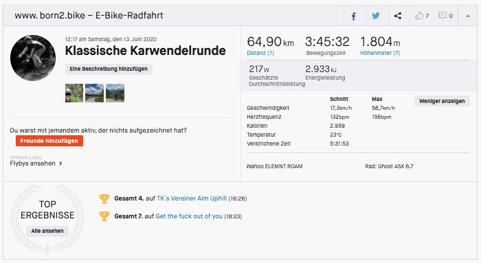 Auswertung Strava Karwendelrunde